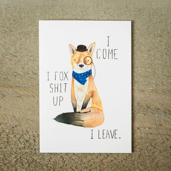 Grußkarte Fox Shit Up