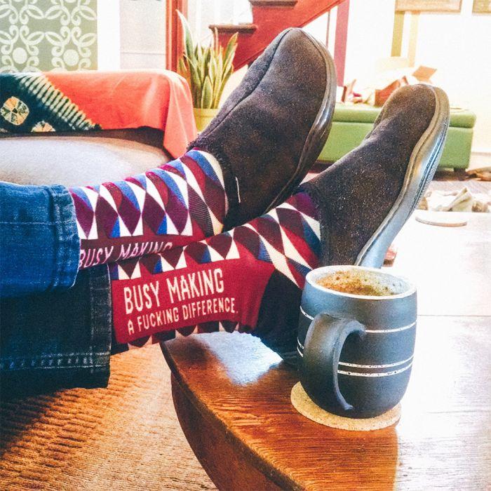 Männer-Socken mit markigen Sprüchen