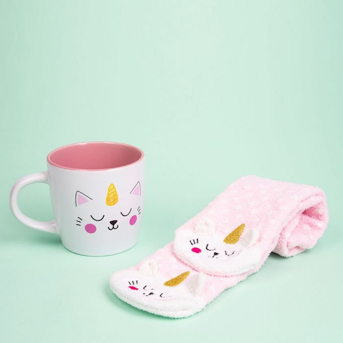 Kittycorn Socken und Tasse