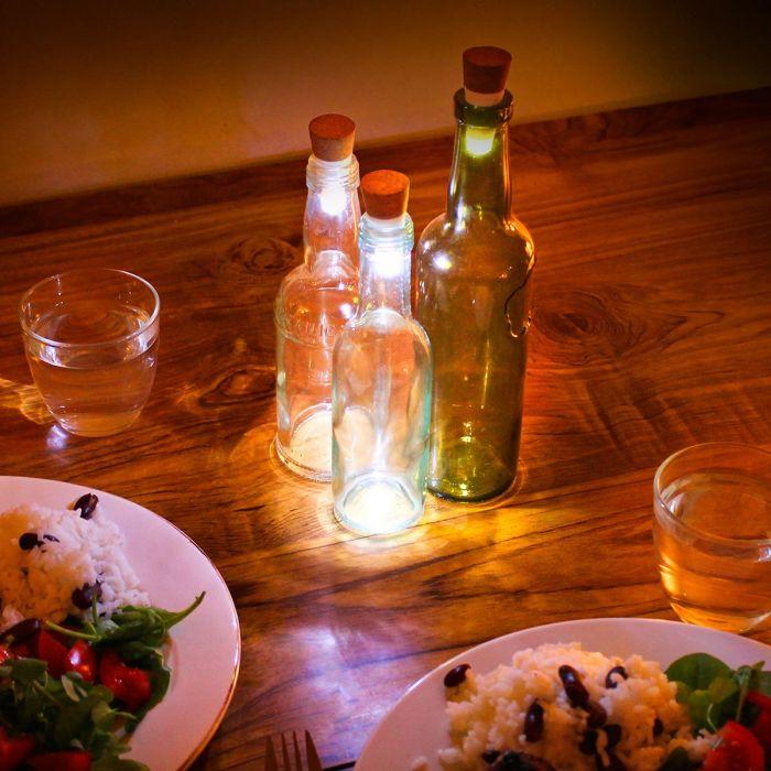 LED Flaschenlichter mit USB - Weiß