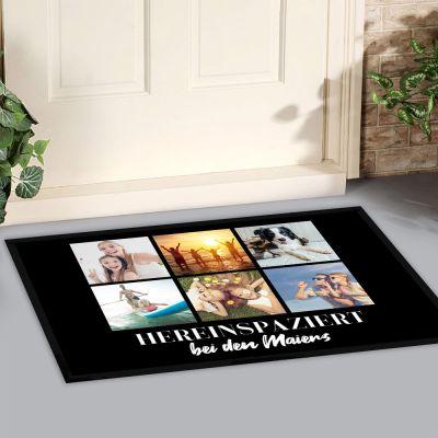 Fußmatte mit 6 Bildern und Text