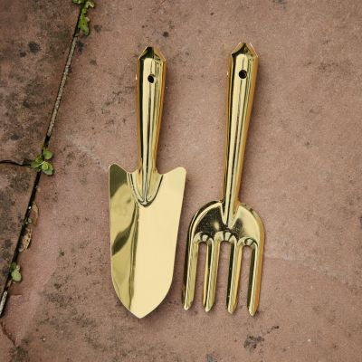Goldfarbenes Gartengeräte 2er-Set