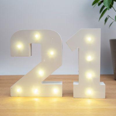 Beleuchtete Holz-Zahlen