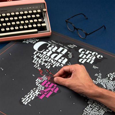 Typografische Rubbel-Weltkarte