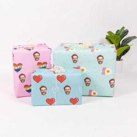 Geschenkpapier Multi-Gesicht mit Liebes-Hintergründen