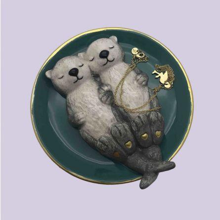 Verliebte Otter Schmuckschale