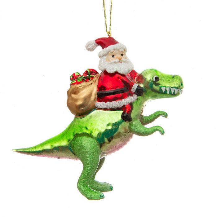 Santa mit Dinosaurier Christbaumschmuck