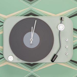 Plattenspieler Uhr in Mintgrün