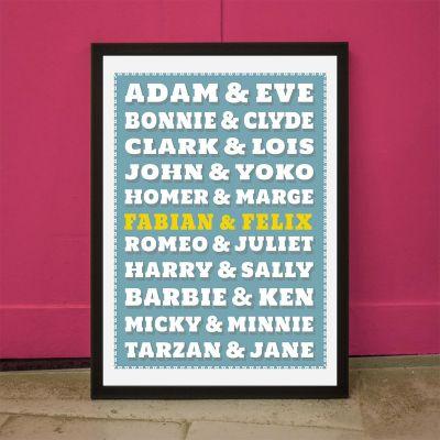 Weihnachtsgeschenke für Eltern - Berühmte Paare - Personalisierbares Poster