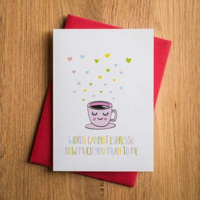 Valentinstag Geschenke für Männer - Valentinstagskarte Espresso