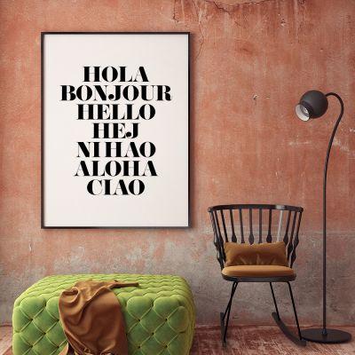 Geschenk für Freund - Poster Hola Bonjour by MottosPrint