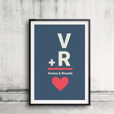 Valentinstag Geschenke - Initialen - Personalisierbares Poster