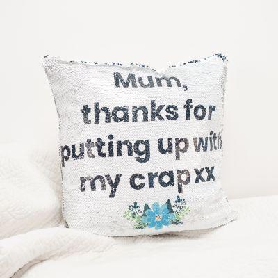 Exklusiv bei uns - Kissenbezug mit versteckter Botschaft in Silber