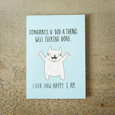 Karten - Grußkarte Happy Cat