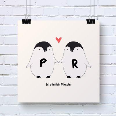 Romantische Geschenke - Pinguin Pärchen - Personalisierbares Poster