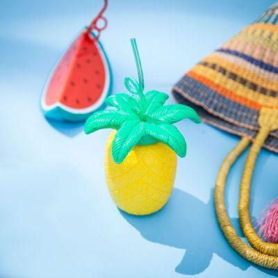 Strand & Wasser - Südfrüchte-Becher mit Trinkhalmen