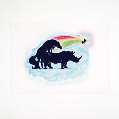 Karten - Grußkarte Einhorn Nashorn