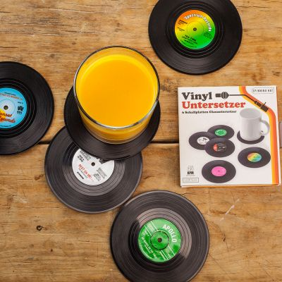 Ostergeschenke - 6 Untersetzer im Vinyl Schallplatten Look