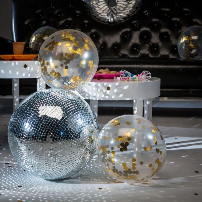 ballons mit gold konfetti. Black Bedroom Furniture Sets. Home Design Ideas