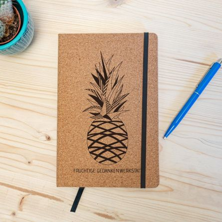 Personalisierbares Kork Notizbuch - Ananas