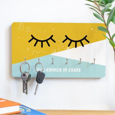 Personalisierbares Schlüsselbrett Augen zu mit Text