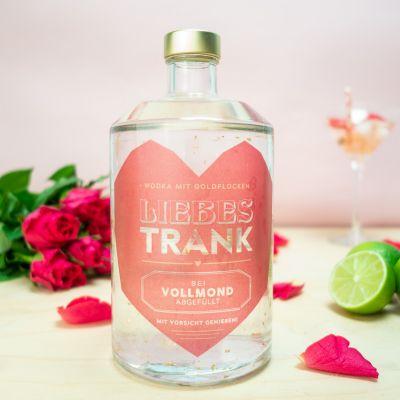 Valentinstag Geschenke - Liebestrank Wodka mit Goldflocken