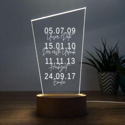 Hochzeitstag Geschenk - LED-Leuchte Wichtige Daten