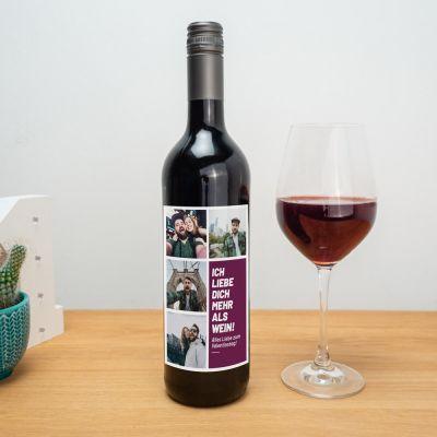 Hochzeitstag Geschenk - Personalisierbarer Wein mit Bildern und Text