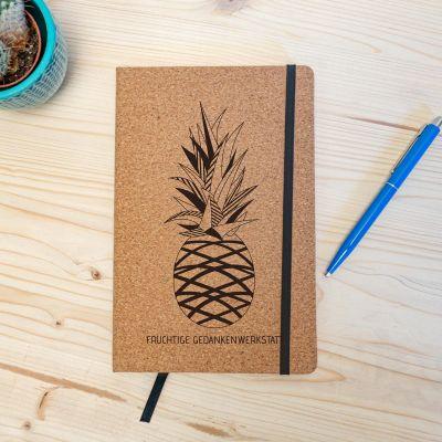 Exklusive Notizbücher - Personalisierbares Kork Notizbuch - Ananas