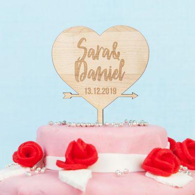 Hochzeitstag Geschenk - Personalisierbarer Cake Topper mit Herz