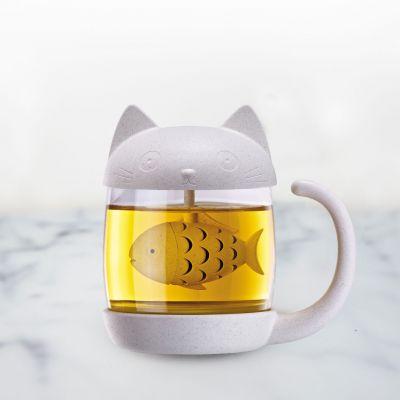 Tassen & Gläser - Katzen Teeglas mit Fisch Tee-Ei