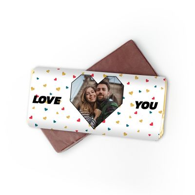 Romantische Geschenke - Personalisierbare Schokolade mit Foto-Herz und Text