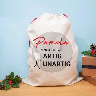 Personalisierbarer Weihnachtssack Artig vs. Unartig