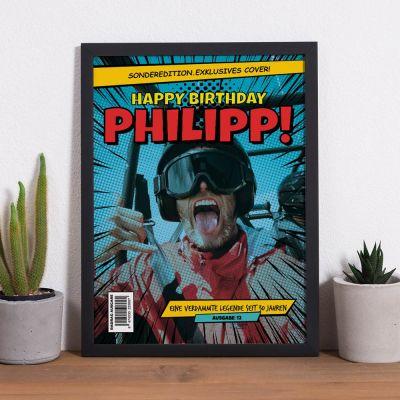 Geburtstagsgeschenke für Männer - Personalisierbares Poster mit Text und Bild im Comic-Stil