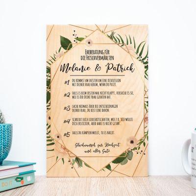 Hochzeitsgeschenke - Personalisierbares Holzbild mit guten Ratschlägen
