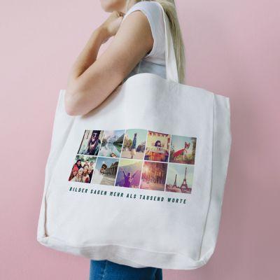 Exklusiv bei uns - Personalisierbare Tasche mit 10 Bildern und Text