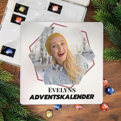 Exklusiv bei uns - Adventskalender - Pralinen Metallbox mit Bild und Text