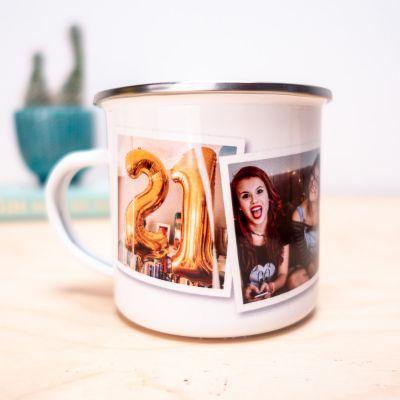 Geburtstagsgeschenke für Frauen - Personalisierbare Metalltasse mit Fotos