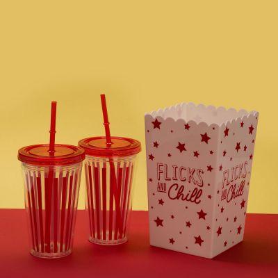 Tassen & Gläser - Kino-Set mit Popcorn-Eimer und Trinkbecher