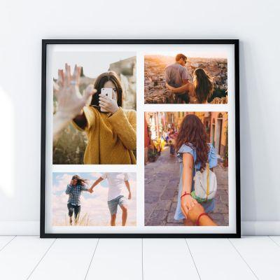 Hochzeitstag Geschenk - Personalisierbares Foto-Poster mit 4 Bildern