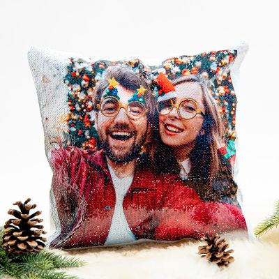 Weihnachtsgeschenke für Freundin - Personalisierbarer Pailletten Kissenbezug mit verstecktem Foto