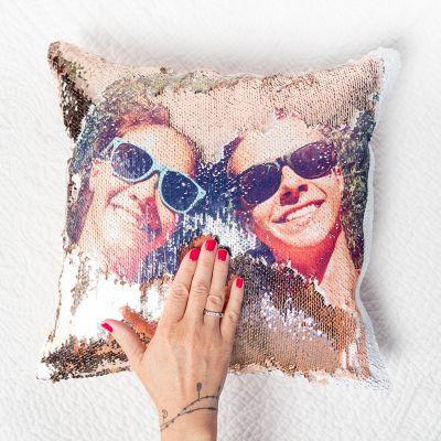 Ostergeschenke - Personalisierbarer Pailletten Kissenbezug mit verstecktem Foto