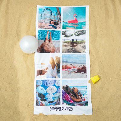 Draußen - Personalisierbares Handtuch mit 8 Fotos und Text