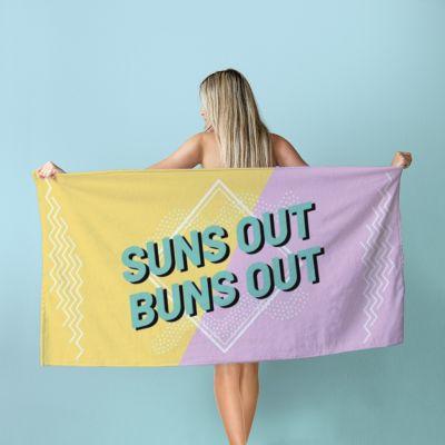 Draußen - Personalisierbares Handtuch in Bunt