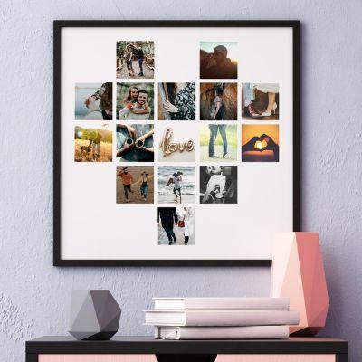 Deko - Personalisierbares Poster in Herz-Form mit Fotos