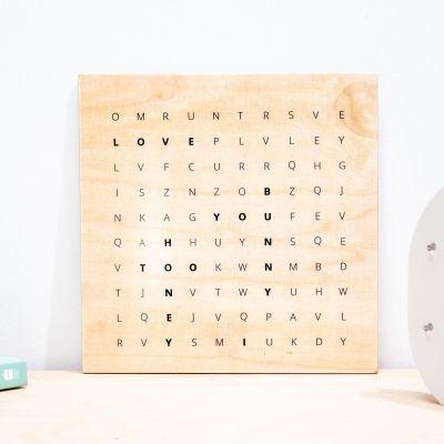 Abschiedsgeschenk - Wörtersuche - Personalisierbares Holzbild