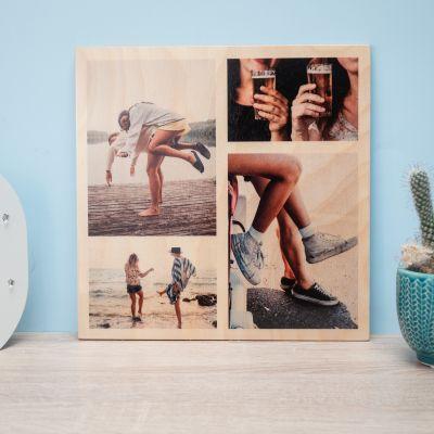 Exklusive Poster - Personalisierbares Foto Holzbild mit 4 Bildern