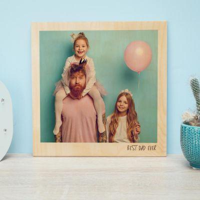 Geburtstagsgeschenk für Mama - Personalisierbares Holzbild im Polaroid-Look