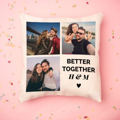 Personalisierte Geschenke - Personalisierbarer Kissenbezug mit 3 Bildern und Text