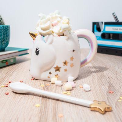 Tassen & Gläser - Magische Einhorn Tasse mit Zauberstab Löffel